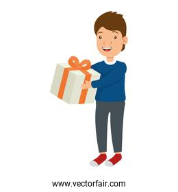 little boy with gift character