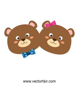 cute couple bears teddy adorables characters