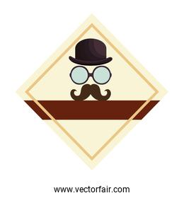 hat with glasses and mustache emblem hipster style