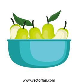 fresh pears in bowl fruits