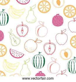 delicious set fruits healthy food pattern background