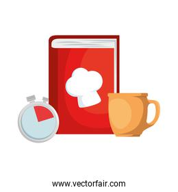 book recipes with coffee cup and chronometer