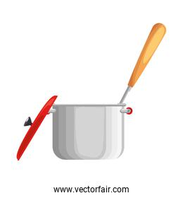 kitchen pot with cutlery isolated icon