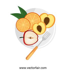 delicious set fruits in dish healthy food