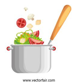 vegetables cooking in kitchen pot and ladle