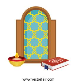 window of temple and book with candle