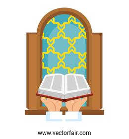 sacred book with temple window religious icon