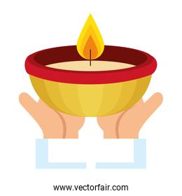 hands with ceremonial candle isolated icon
