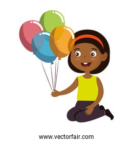 little girl black with balloons helium character
