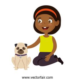 little girl black with dog character
