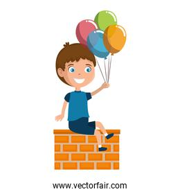 little boy with balloons helium character