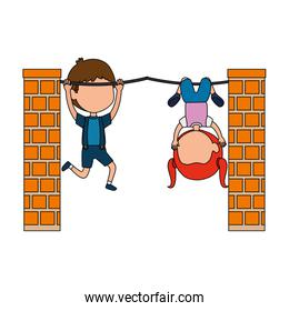 little kids couple hanging in the rope characters