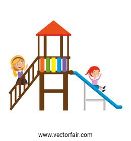 girl playing in tower and slide