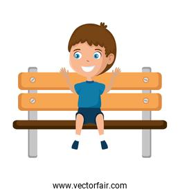 boy in the park wooden chair icon