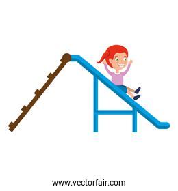 girl playing in playground slide icon