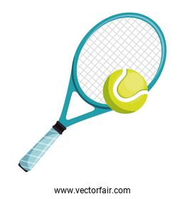tennis racket and ball isolated icon