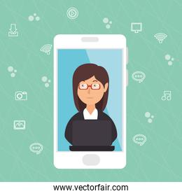 businesswoman working with smartphone