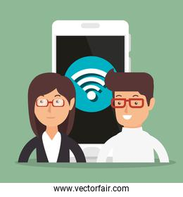 business couple with wifi connection in smartphone