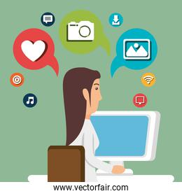 woman working with social media icon