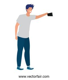 happy young man taking a selfie