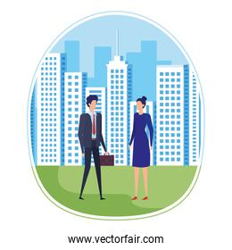 elegant young business couple on the city
