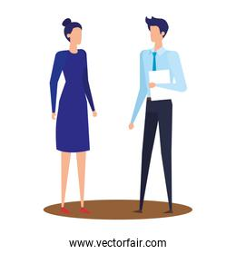elegant young business couple avatars characters