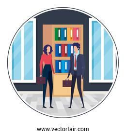 business couple in the workplace characters