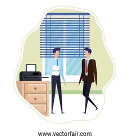 elegant businessmen in the workplace characters