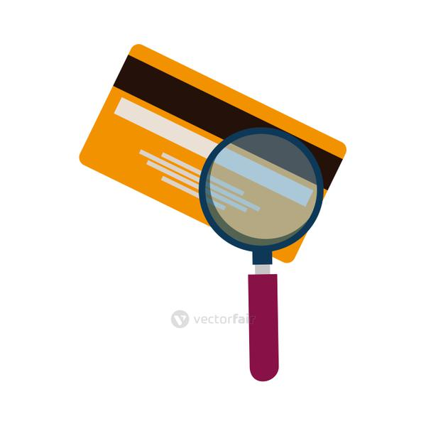 credit card money plastic with magnifying glass