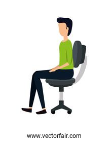 elegant young businessman in office chair