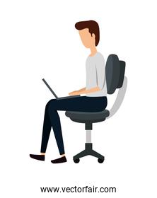 businessman using laptop in office chair