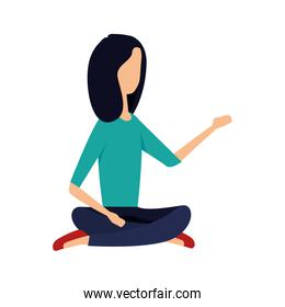 elegant young businesswoman seated in lotus position