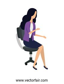 faceless elegant young businesswoman seated in office chair