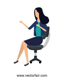 elegant young businesswoman seated in office chair