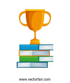 pile text books with trophy cup