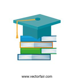 pile text books education with graduation hat