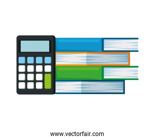 pile text books with calculator