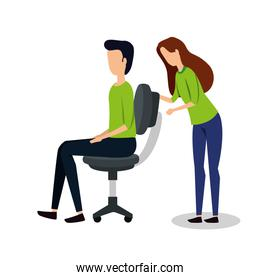 business couple seated in office chair