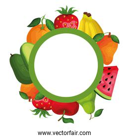 group of fresh fruits and vegetables circular frame