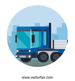 delivery service truck blue vehicle icon