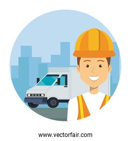 industrial worker with delivery van vehicle on the city