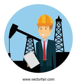 engineer with helmet in the refinery oil character