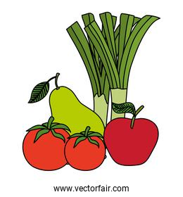group of fresh fruits and vegetables