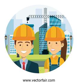 engineer with female builder on workside characters