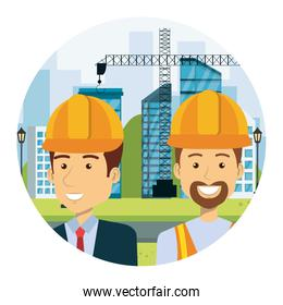 wngineer with builder on workside characters