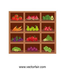 group of fresh fruits and vegetables in wooden shelving