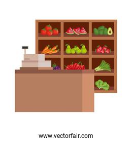fresh fruits and vegetables in wooden shelving and register machine