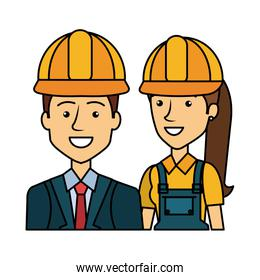 engineer and female builder with helmets avatars characters