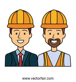 engineer and builder with helmets avatars characters