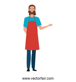 happy young artist man with apron